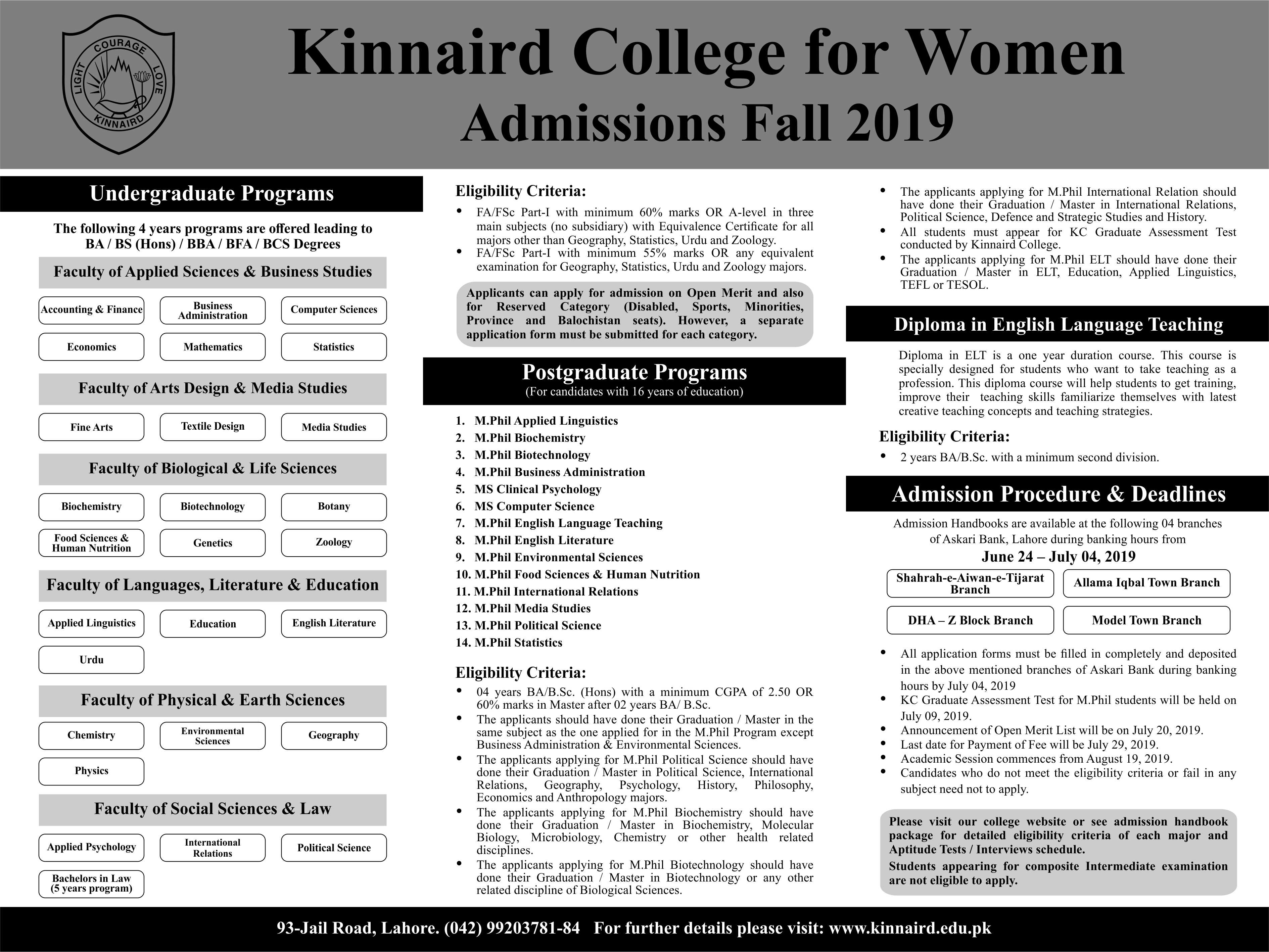 Kinnaird College For Women Admissions Fall 2019 Step