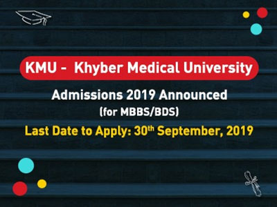 Admissions of Khyber Medical University 2019