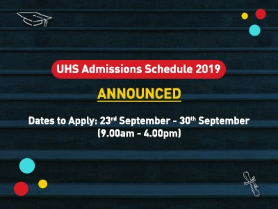 UHS Admissions Schedule 2019