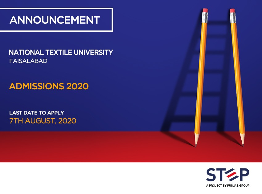National Textile University-Faisalabad Admissions 2020
