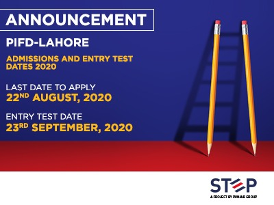 PIFD-Lahore Admissions and Entry Test dates 2020