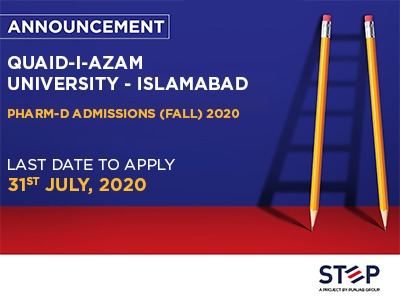 Quaid-I-Azam University Islamabad Pharm-D Admissions (FALL) 2020