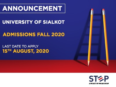 University of Sialkot Admissions Fall 2020
