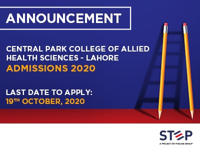 Central Park College of Allied Health Sciences – Lahore Admissions 2020