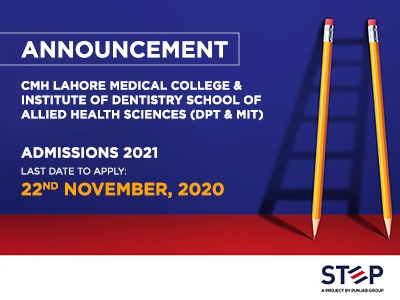 CMH LAHORE MEDICAL COLLEGE & INSTITUTE OF DENTISTRY SCHOOL OF ALLIED HEALTH SCIENCES (DPT & MIT) ADMISSIONS 2021