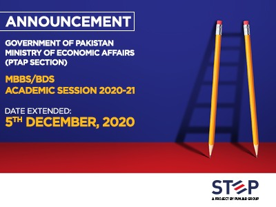 GOVERNMENT OF PAKISTAN, MINISTRY OF ECONOMIC AFFAIRS (PTAP SECTION) MBBS/BDS Academic Session 2020-21