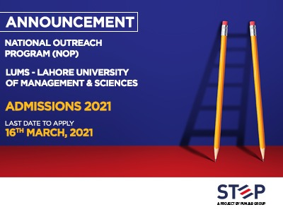 NATIONAL OUTREACH PROGRAM (NOP) LUMS Admissions 2021