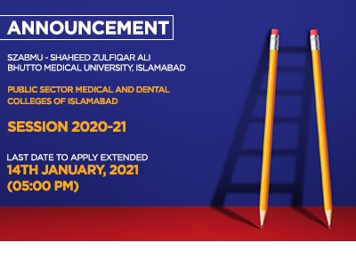 SZABMU – Shaheed Zulfiqar Ali Bhutto Medical University, Islamabad Public Sector Medical and Dental Colleges of Islamabad Session 2020-21