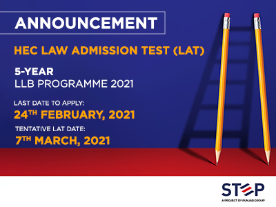 HEC LAW ADMISSION TEST (LAT) 5-YEAR LLB PROGRAMME 2021
