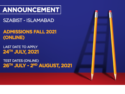 SZABIST – Islamabad Admissions Fall 2021 (online)
