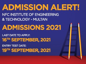 NFC Institute of Engineering & Technology - Multan Admissions 2021